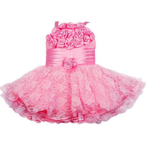 Wishkaro Girls Midi/Knee Length Party Dress(Pink, Sleeveless)