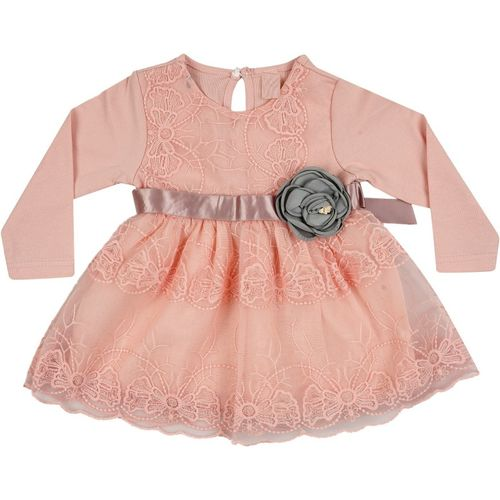Icable Girls Mini/Short Party Dress(Pink, Full Sleeve)