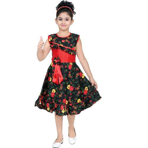 smartbazar Girls Midi/Knee Length Party Dress(Multicolor, Sleeveless)