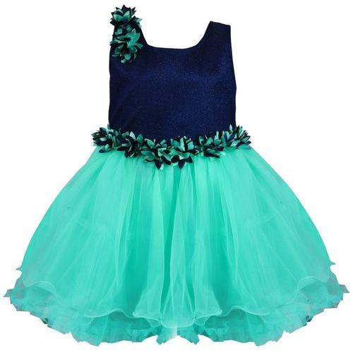 Wishkaro Girls Midi/Knee Length Casual Dress(Blue, Sleeveless)