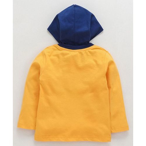 Tango Full Sleeves Hooded Tee Car Print - Yellow Navy Blue