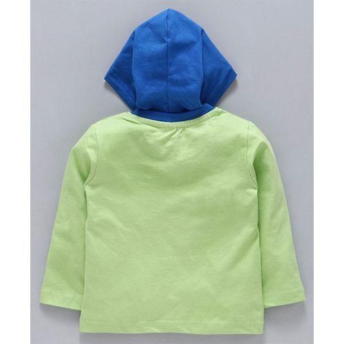 Tango Full Sleeves Hooded Tee Car Print - Green Blue