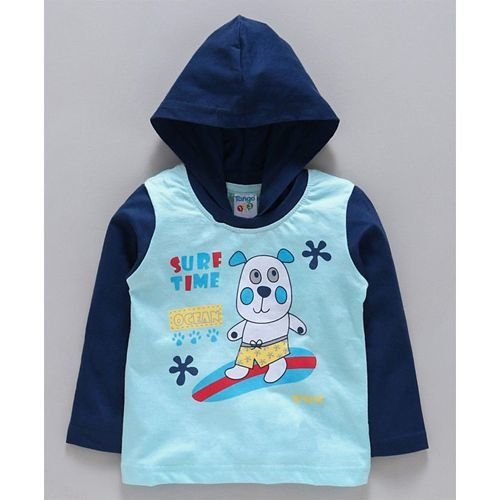 Tango Full Sleeves Hooded Tee Surf Time - Light & Navy Blue