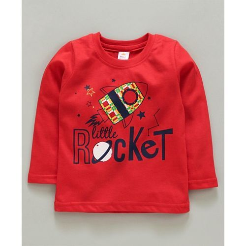 Mini Donuts Full Sleeves Tee Striped & Rocket Print Pack of 3 - Red
