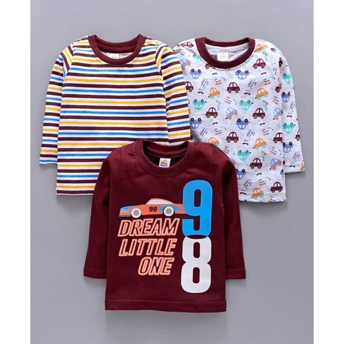 Mini Donuts Full Sleeves Tee Striped & Car Print Pack of 3 - Maroon