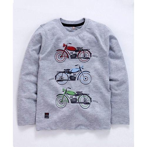 Olio Kids Full Sleeves T-Shirt Graphic Print - Grey
