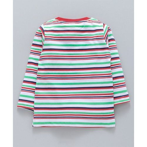 Mini Donuts Full Sleeves Striped Tee Alphabetical Print Pack of 3 - Red