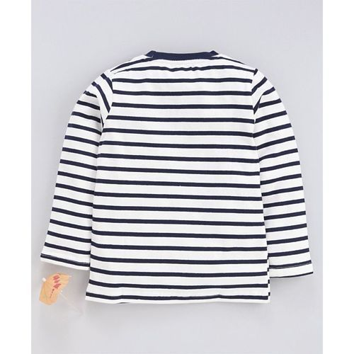 Kookie Kids Full Sleeves Striped T-Shirt Aircraft Patch - Navy Blue White