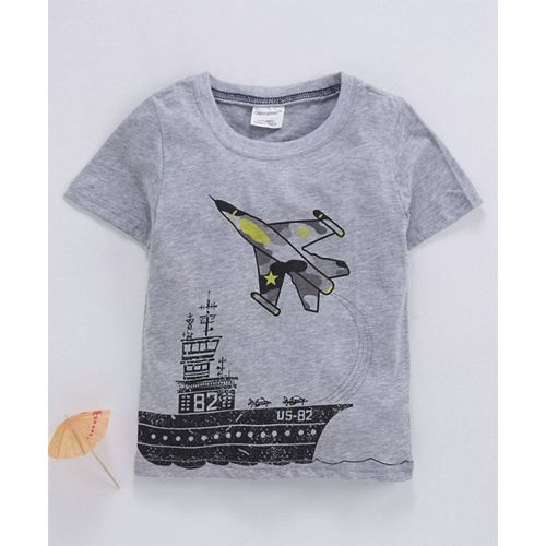 Kookie Kids Half Sleeves Tee Ship & Aircraft Print - Grey