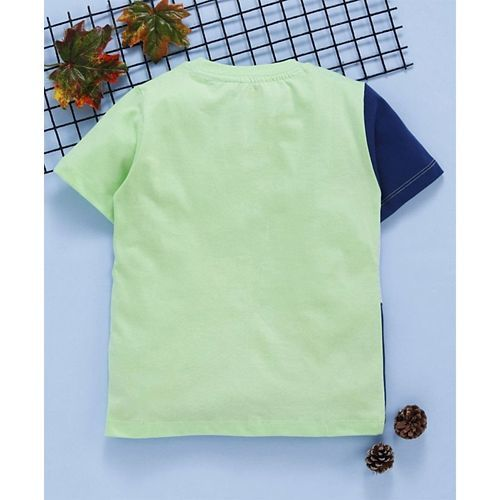 Babyhug Half Sleeves Tee Champion Print - Green Navy Blue Light Grey