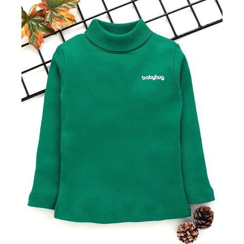 Babyhug Full Sleeves Turtle Neck Tee - Dark Green