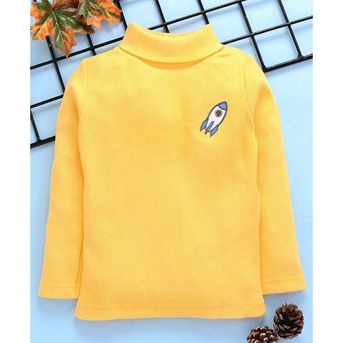 Babyhug Full Sleeves Tee Space Patch - Yellow