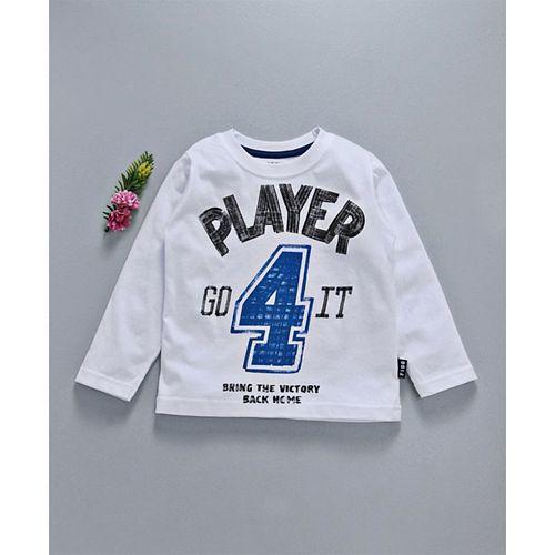 Fido Full Sleeves T-Shirt Player Print - White
