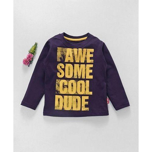 Fido Full Sleeves T-Shirt Cool Dude Print - Dark Purple