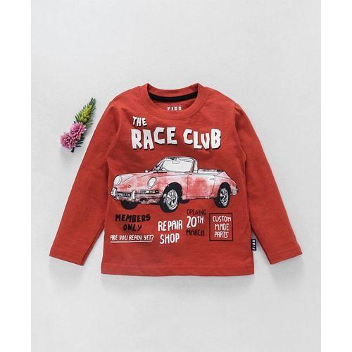 Fido Full Sleeves T-Shirt Car Print - Red