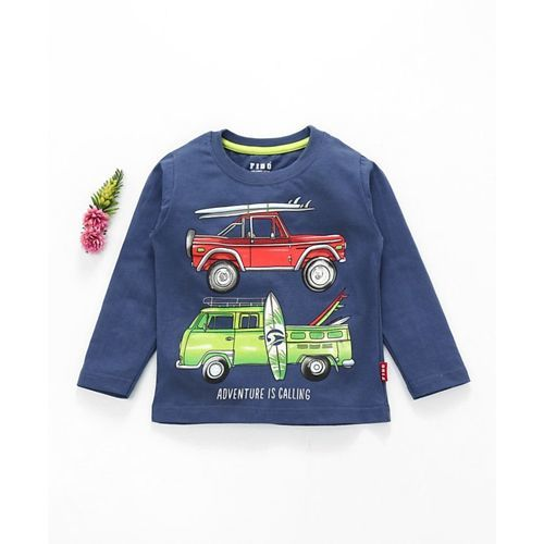 Fido Full Sleeves T-Shirt Vehicle Print - Dark Blue