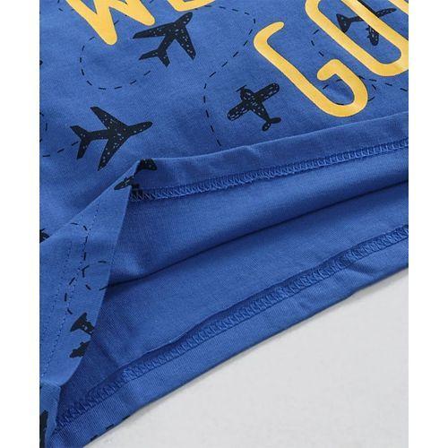Fido Full Sleeves Tee Aeroplane Print - Royal Blue