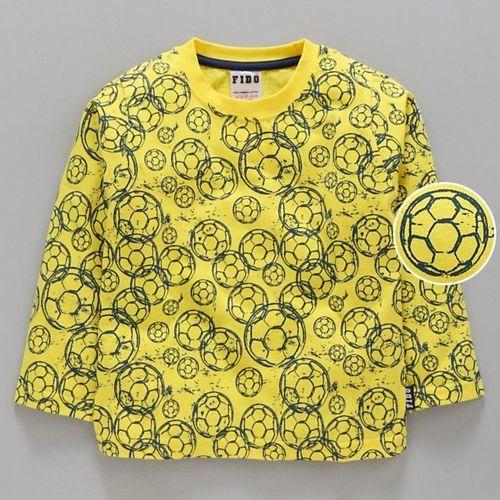 Fido Full Sleeves Tee Football Print - Yellow