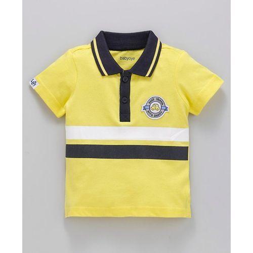 Babyoye Half Sleeves Cotton Tee Car Patch Print - Yellow