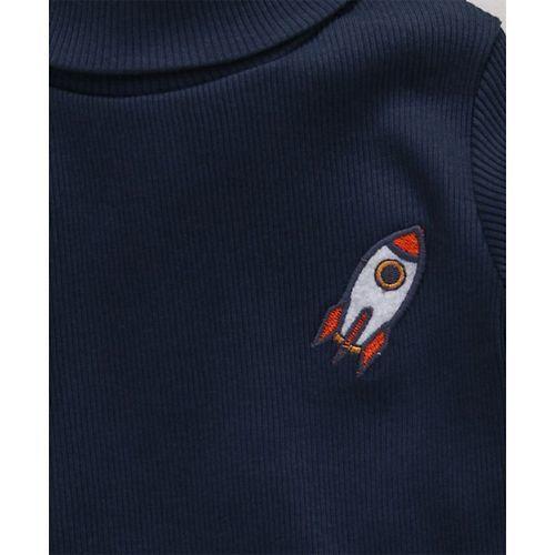 Babyhug Full Sleeves Tee Space Patch - Navy Blue