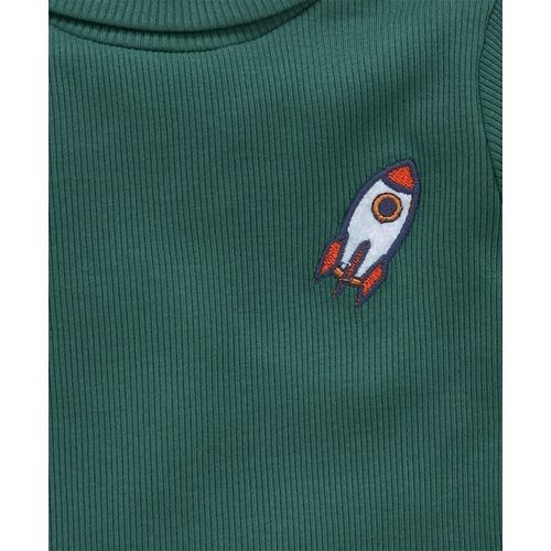 Babyhug Full Sleeves Tee Space Patch - Dark Green
