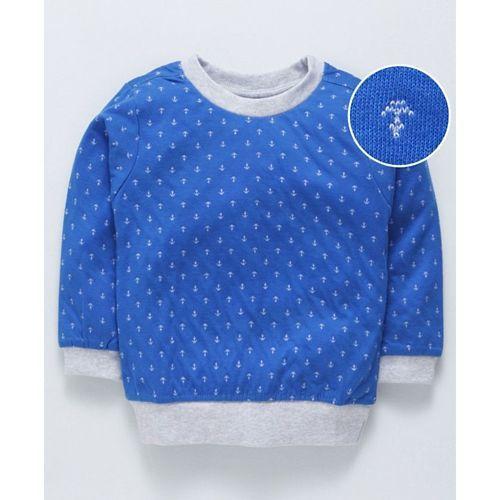 Zero Full Sleeves Winter-wear Tee Anchor Print - Royal Blue