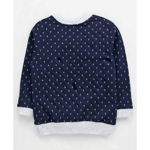 Zero Full Sleeves Winter-wear Tee Anchor Print - Navy Blue