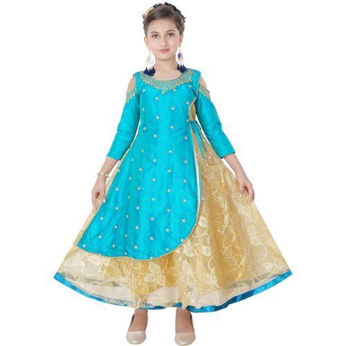 Saarah Girls Midi/Knee Length Festive/Wedding Dress(Blue, 3/4 Sleeve)