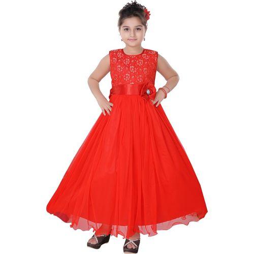 Saarah Girls Maxi/Full Length Party Dress(Red, Sleeveless)