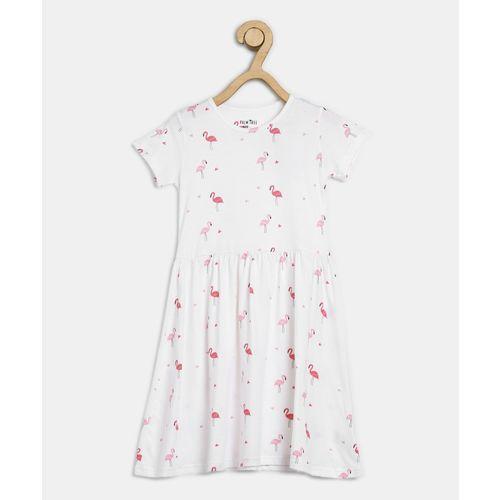 Palm Tree Girls Midi/Knee Length Casual Dress(White, Half Sleeve)