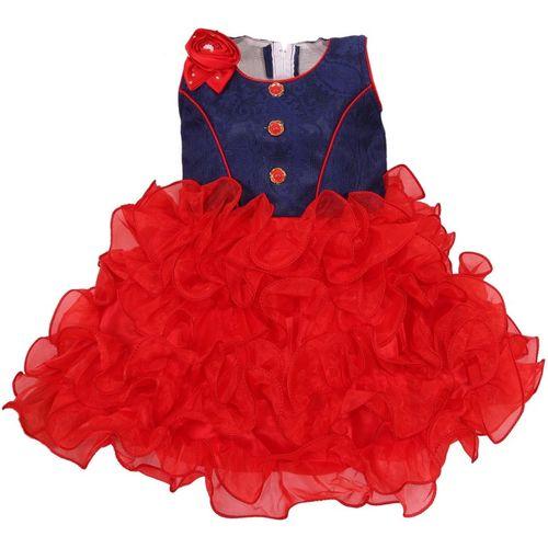 Wishkaro Girls Midi/Knee Length Party Dress(Red, Sleeveless)