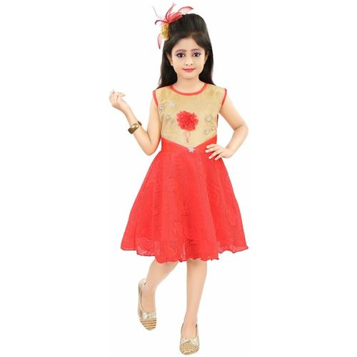 Style Junction Girls Midi/Knee Length Party Dress(Red, Sleeveless)