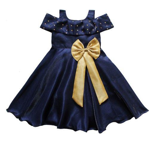 MVD Fashion Girls Midi/Knee Length Party Dress(Dark Blue, Cap Sleeve)
