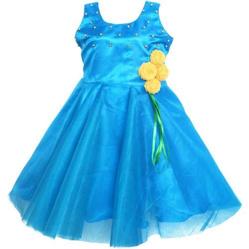 MVD Fashion Girls Midi/Knee Length Party Dress(Dark Blue, Sleeveless)