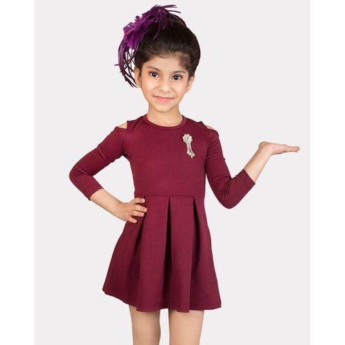 Addyvero Girls Midi/Knee Length Party Dress(Maroon, 3/4 Sleeve)