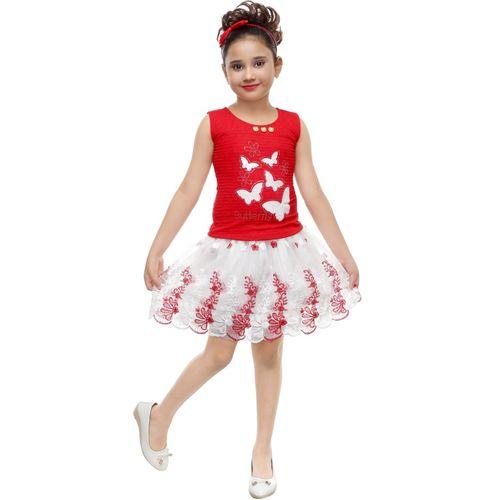 SmartRAHO Girls Midi/Knee Length Casual Dress(Red, Sleeveless)