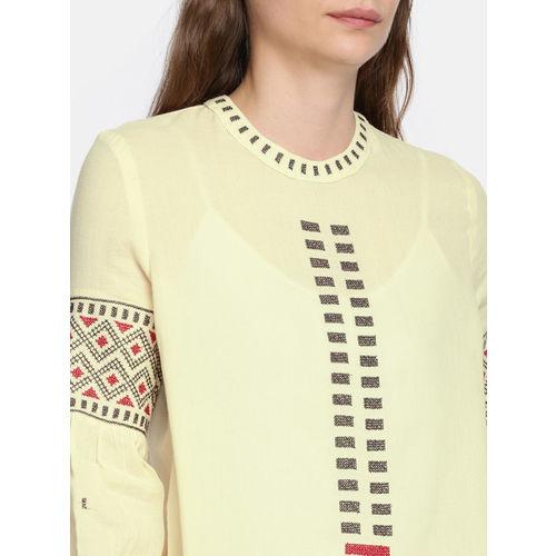 ONLY Women Beige Printed Sheer Top