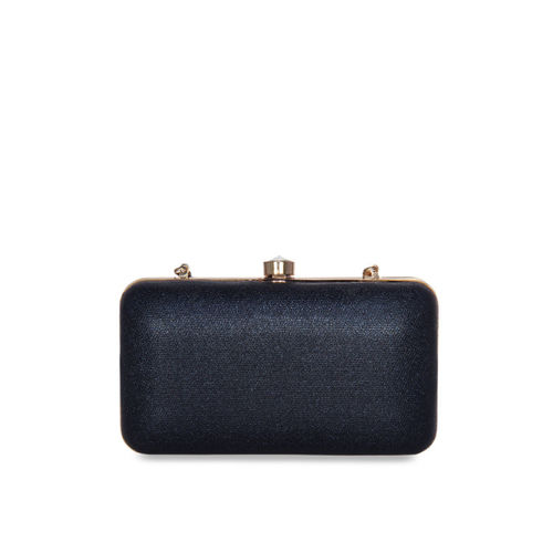 ESBEDA Navy Blue & Off-White Colourblocked Clutch