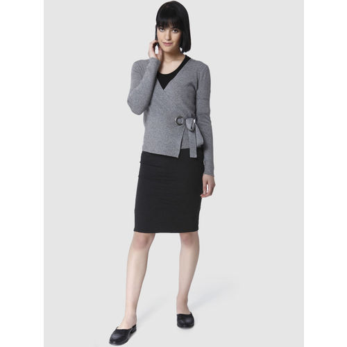 Vero Moda Women Grey Melange Solid Wrap Top