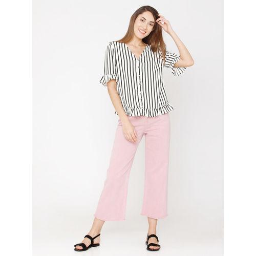 Vero Moda Women White & Black Striped Shirt Style Top