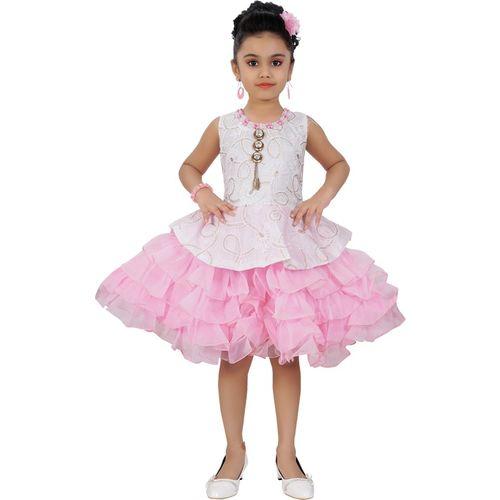 Saarah Girls Midi/Knee Length Party Dress(Pink, Sleeveless)