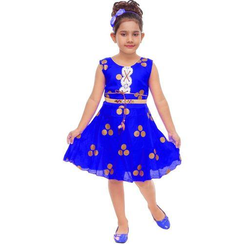 BNB Creations Girls Midi/Knee Length Casual Dress(Blue, Sleeveless)