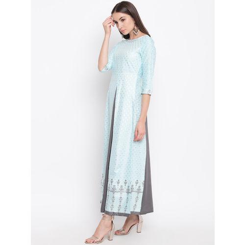 AURELIA Women Blue & Charcoal Grey Printed Layered Maxi Dress