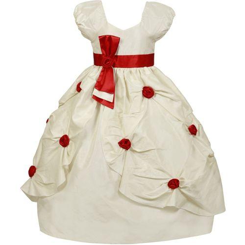Saba Garments Girls Maxi/Full Length Party Dress(White, Cap Sleeve)