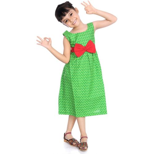Little Pockets Store Girls Midi/Knee Length Casual Dress(Green, Sleeveless)