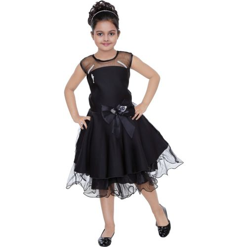 Celebrity Club Girls Midi/Knee Length Festive/Wedding Dress(Black, Sleeveless)