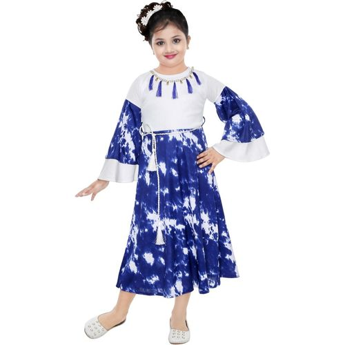 KAARIGARI Girls Maxi/Full Length Party Dress(Blue, Fashion Sleeve)