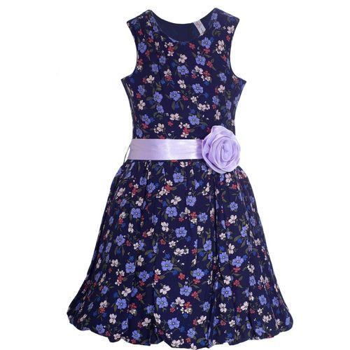 Naughty Ninos Girls Midi/Knee Length Casual Dress(Dark Blue, Sleeveless)