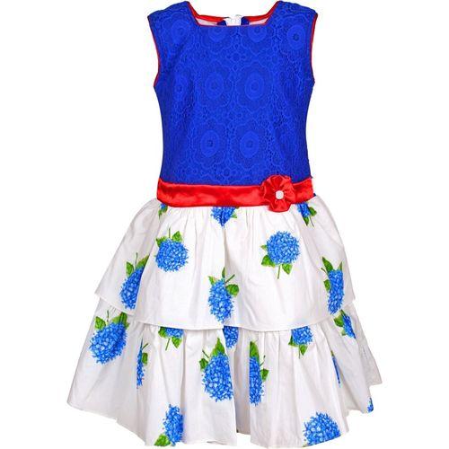 Arshia Fashions Girls Midi/Knee Length Party Dress(Blue, Sleeveless)