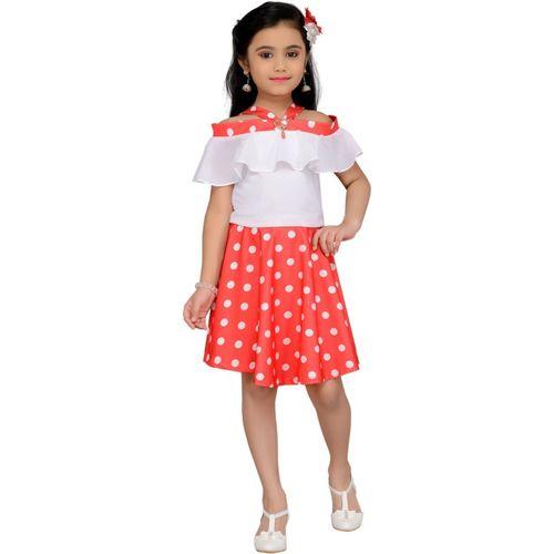 Hunny Bunny Girls Midi/Knee Length Party Dress(Red, Cap Sleeve)
